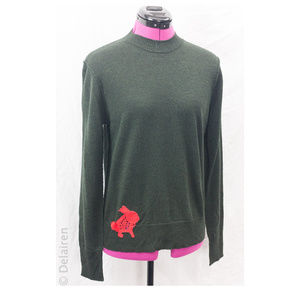 Merino Wool Jumper W/ Bunny & Sun Applique Accent